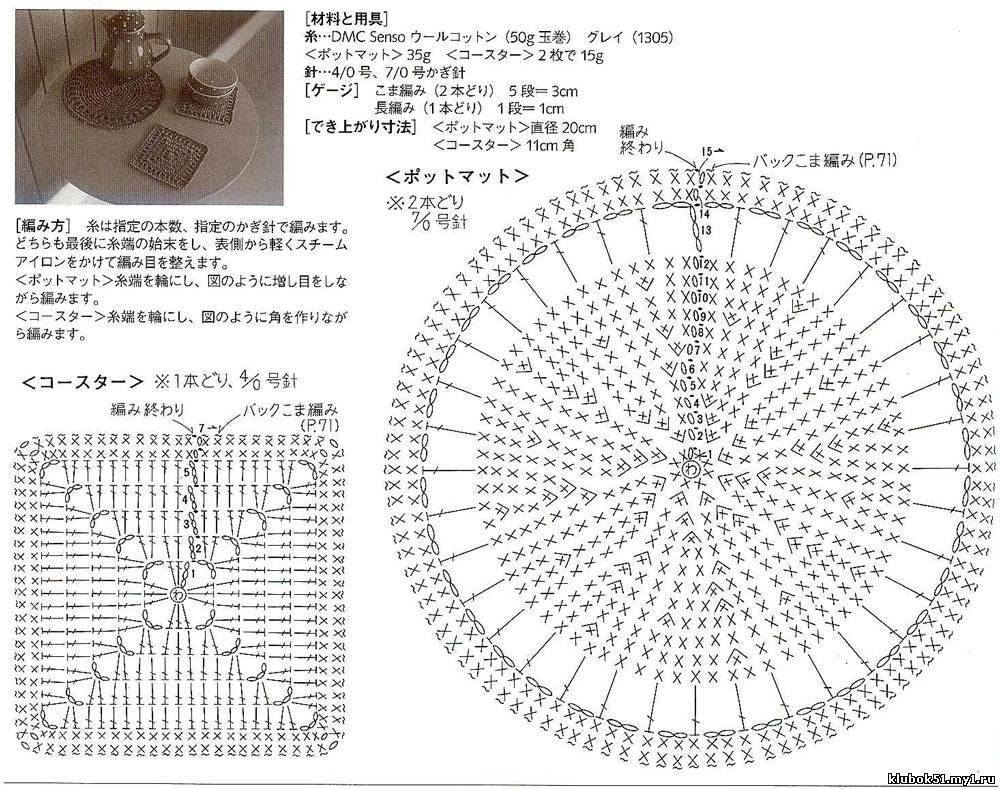 Схема подставок и прихваток вязание крючком
