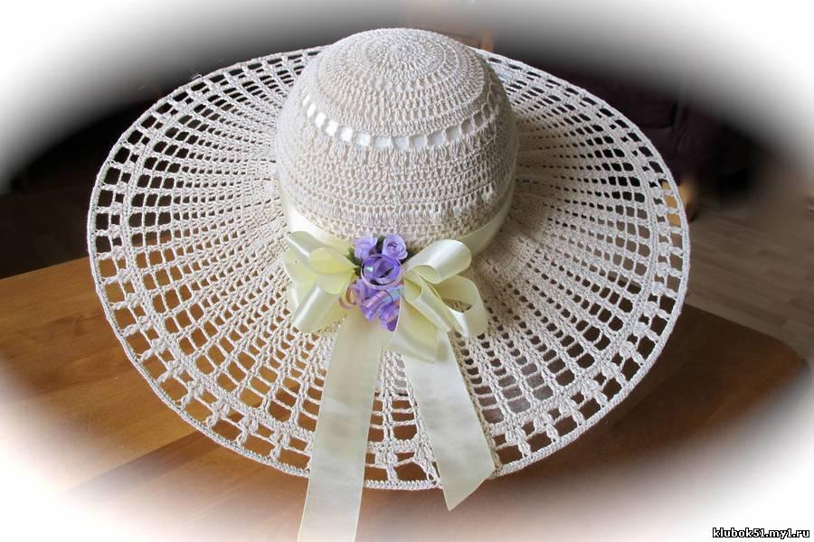 Шляпы женские летние крючком .