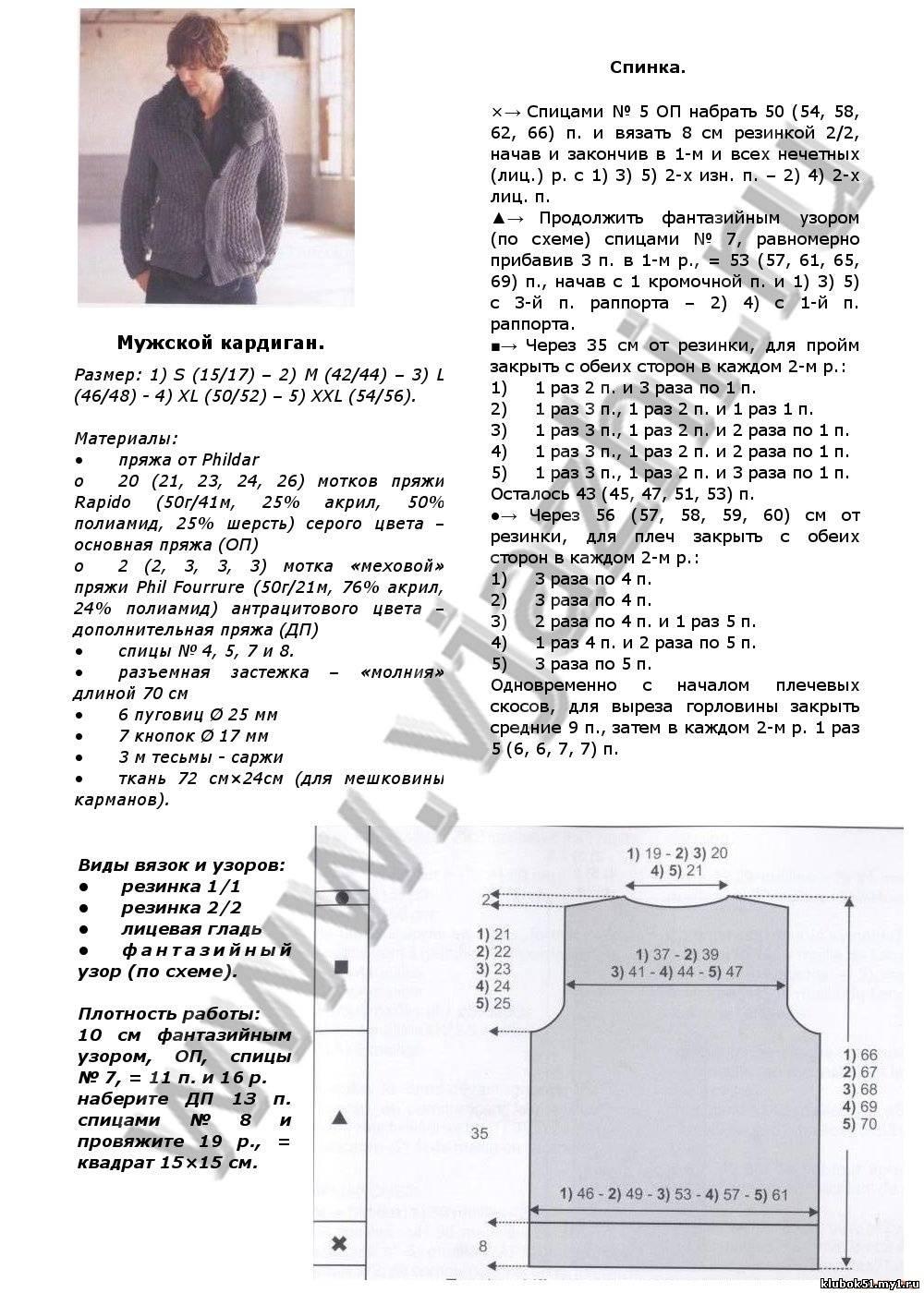 Куртка мужская схема вязания
