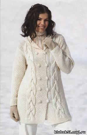 схемы вязания спицами пальто