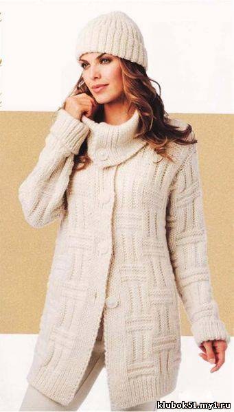 Вязаное пальто .