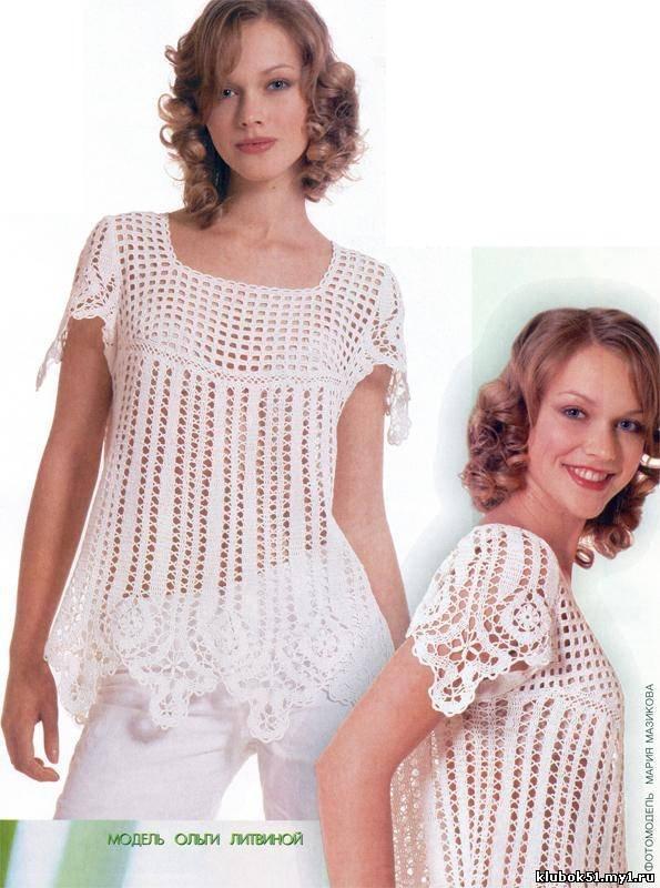 Фигурные элементы брюггского кружева украшают простую по крою блузу и придают ей законченный вид.