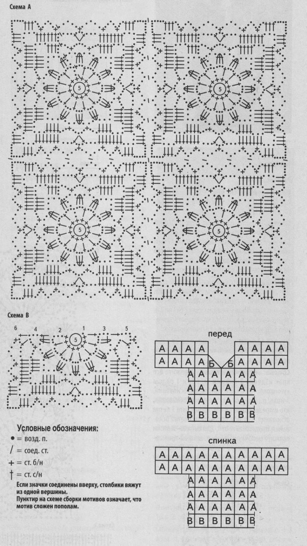 Схема королевского вязанного квадрата крючком для платья из квадратов. . Очень просто и быстро вяжется такой