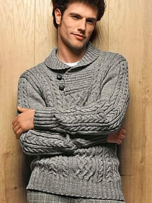 030 Мужской пуловер спицами