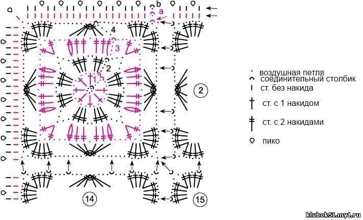 Ажурный палантин вязаный крючком схема На схеме приведен 1-й мотив и 4-й круг. р. соседних мотивов, а также оба