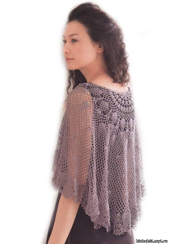 037 Ажурная накидка вязание