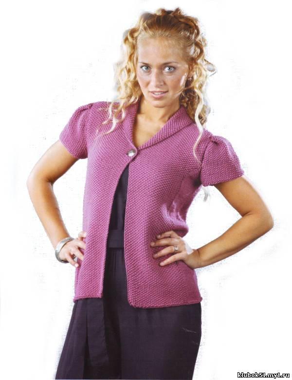 292 Брусничный жакет с короткими рукавами вязание