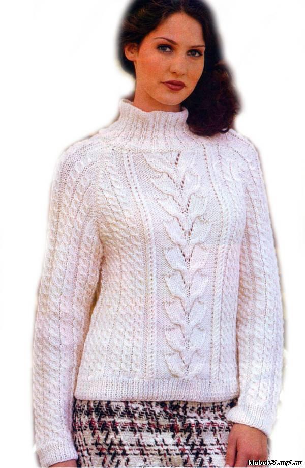 """099 Свитер  """"Зимний день """" вязание спицами, Пальто, жакеты."""