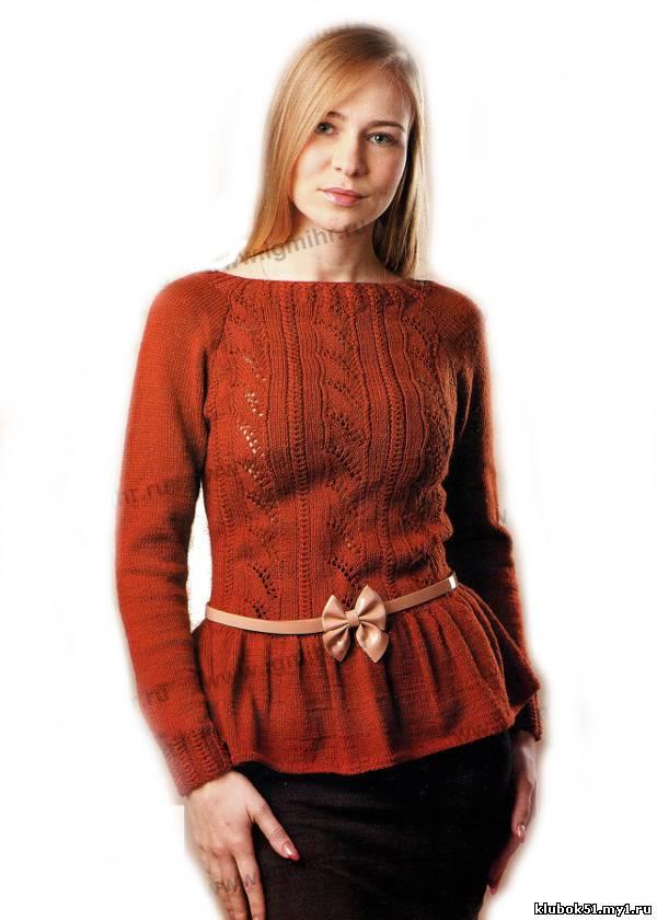 Вязанная юбка с баской