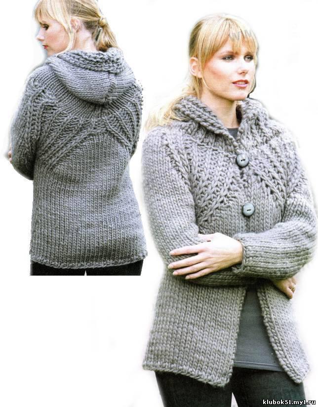 332 Жакет с капюшоном вязание