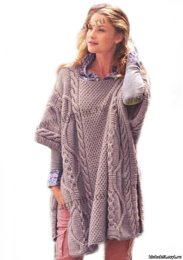 062 Пончо вязание спицами