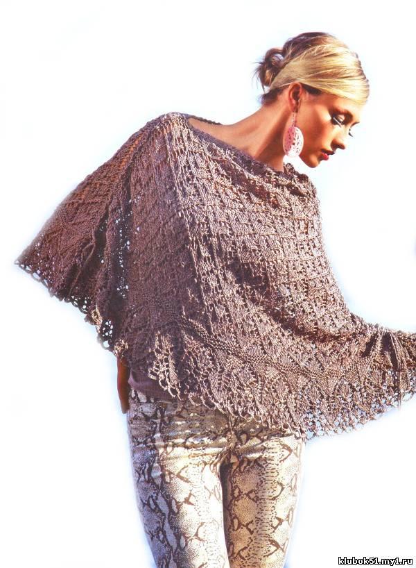 063 Накидка вязание спицами