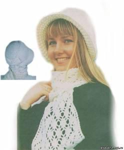 Капор и шарф, связанные крючком