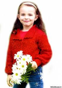 Жакет для девочкм вязание спицами и крючком