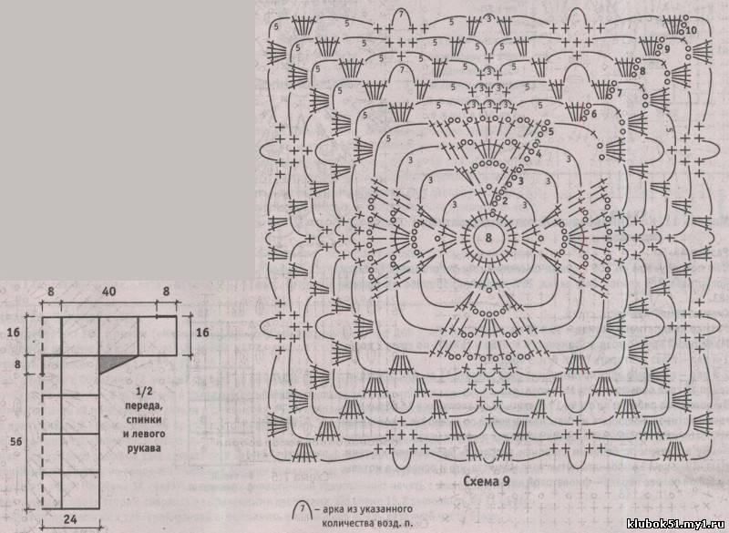 Полотно из квадратных мотивов, связанных круговым вязанием, получает дополнительную мозаичность благодаря пряже