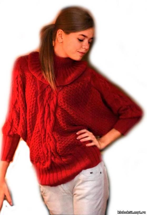 Пуловер «летучая мышь» вязание