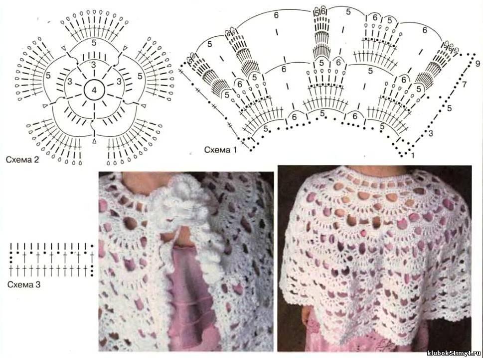 Схема вязания крючком накидки на плечи 53