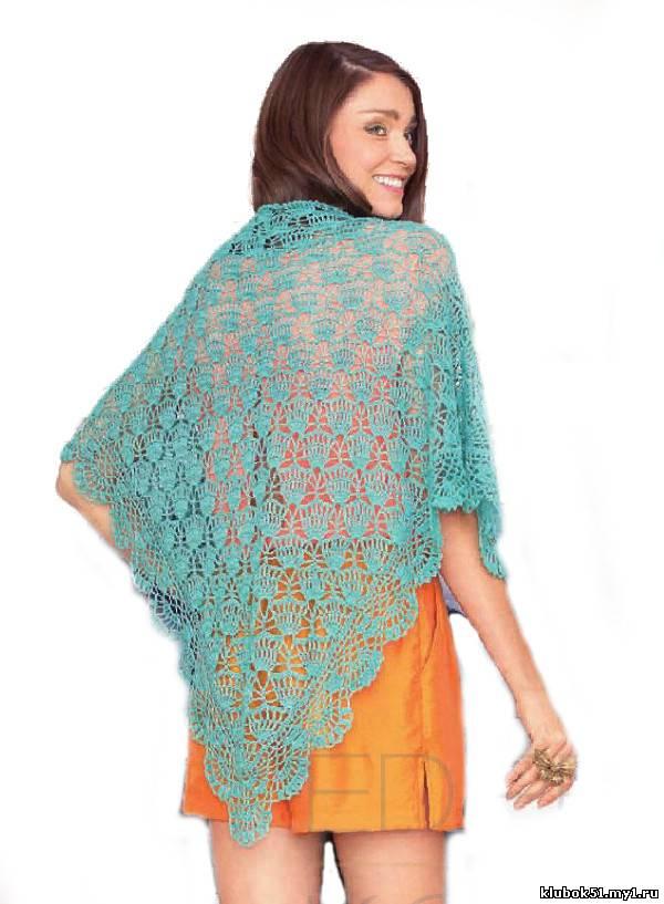 065 Кружевной платок вязание