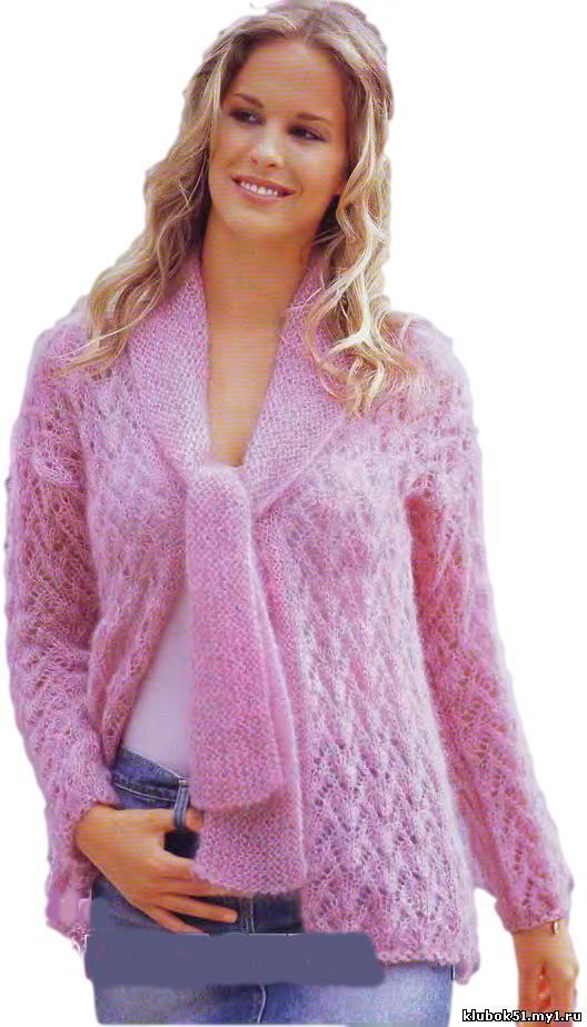 Розовый жакет с воротником-завязками. 31797