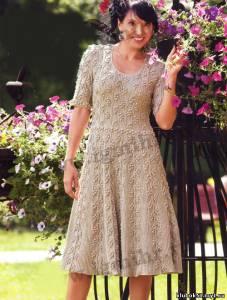 Платья с короткими рукавами спицами для лета