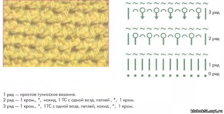 Тунисское вязание - Тунисские узоры - Подборка одноцветных тунисских