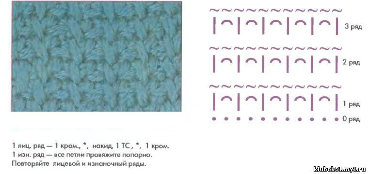 Вязание резинки тунисским крючком 1