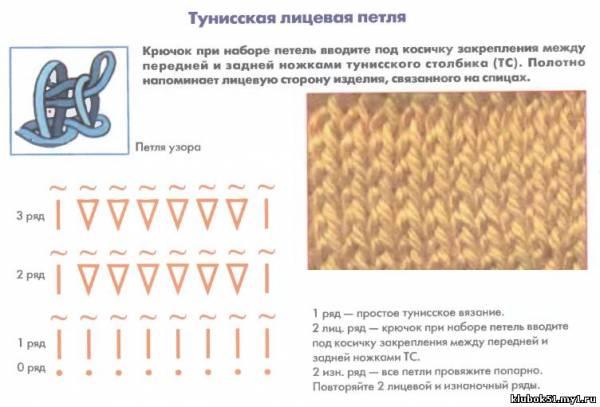 Тунисское вязание крючком лицевые
